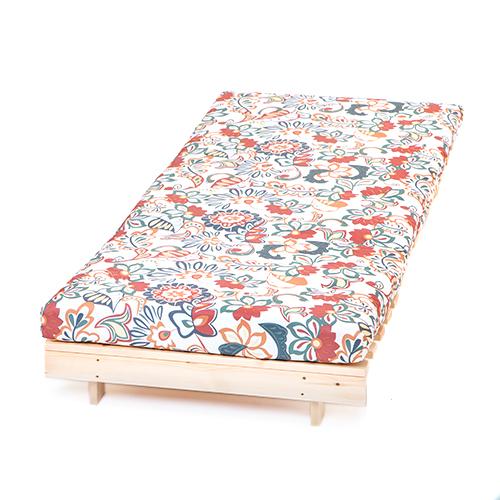Floral single 2ft 6quot 75cm futon wooden frame mattress for Floral sofa bed
