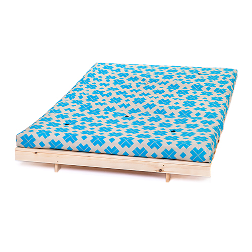 Block cross turquoise double 4ft 125cm futon frame for Turquoise bed frame