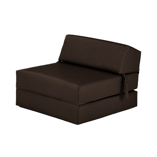 Single chair bed z faux leather guest fold out futon sofa for Leather futon mattress cover