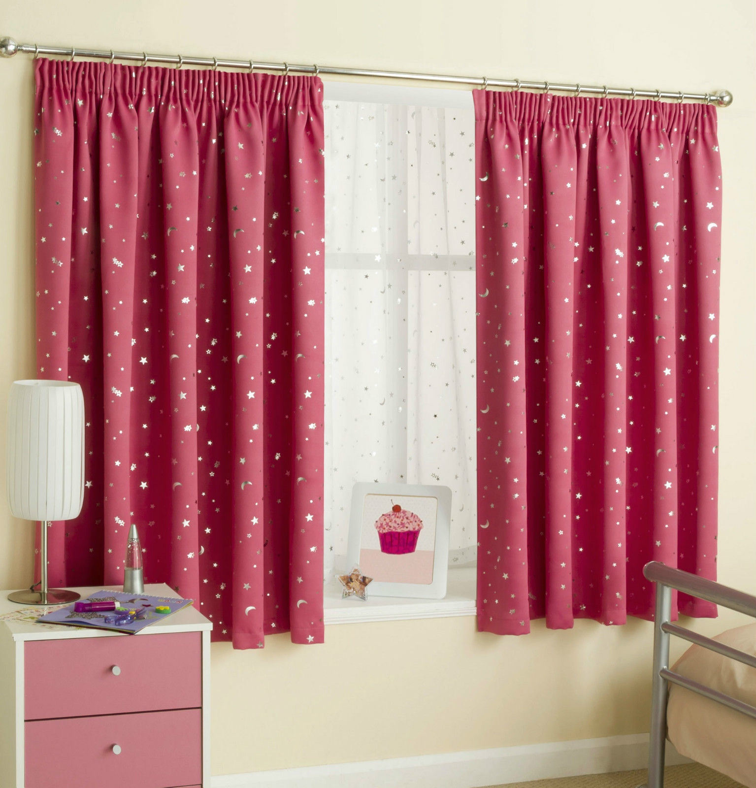 Childrens Moons Stars Curtains Thermal Blockout Tape Pencil Pleat Kids Nursery