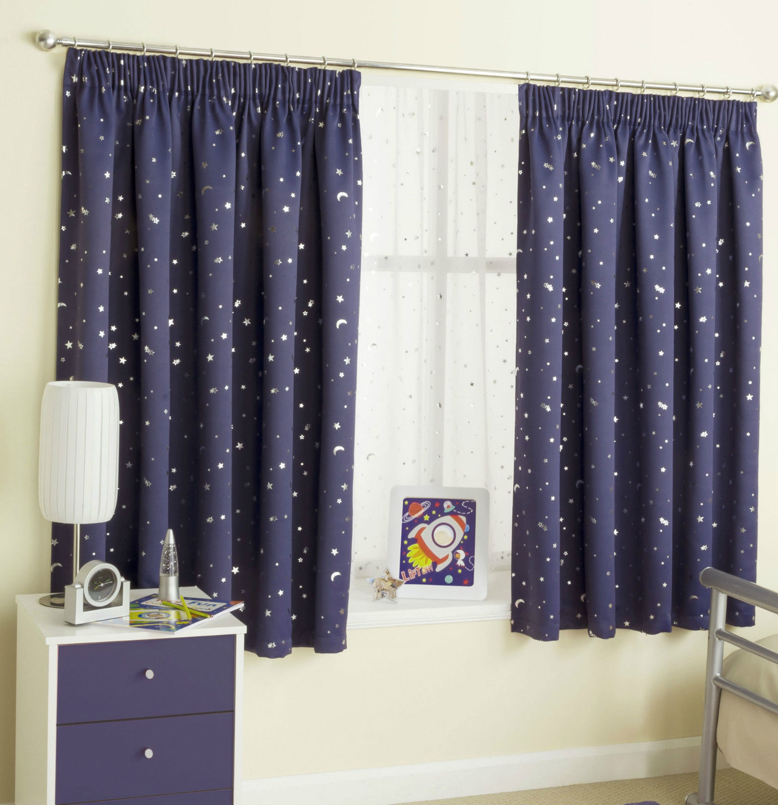 Childrens moons stars curtains thermal blockout tape for Nursery curtains uk