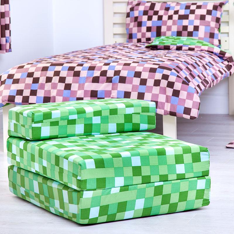 Green pixels kids single chair bed sofa z bed seat foam fold out guest futon ebay - Green pixel bedding ...
