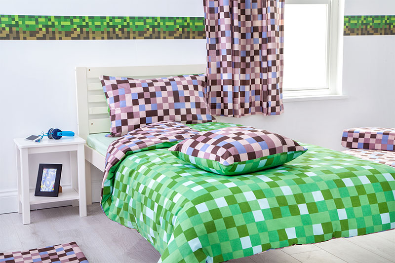 Green brown pixels single bed size duvet cover set pillowcase children 39 s kid ebay - Green pixel bedding ...