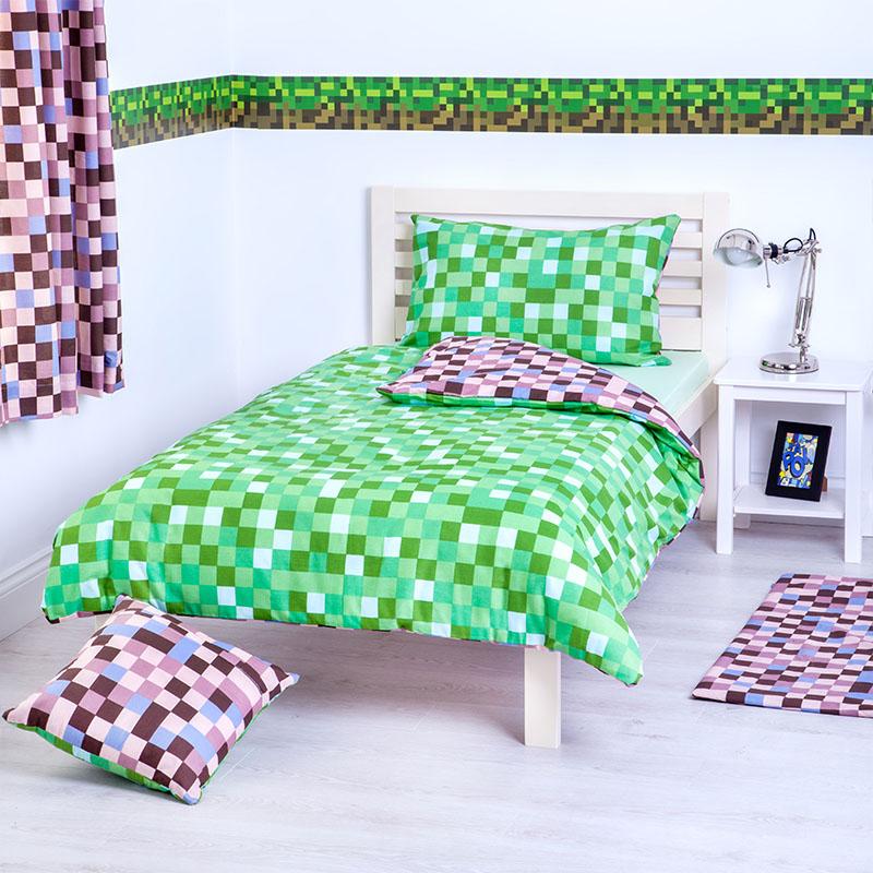 Children 39 s pixels design bedding collection kids bedroom makeover mining game ebay - Green pixel bedding ...