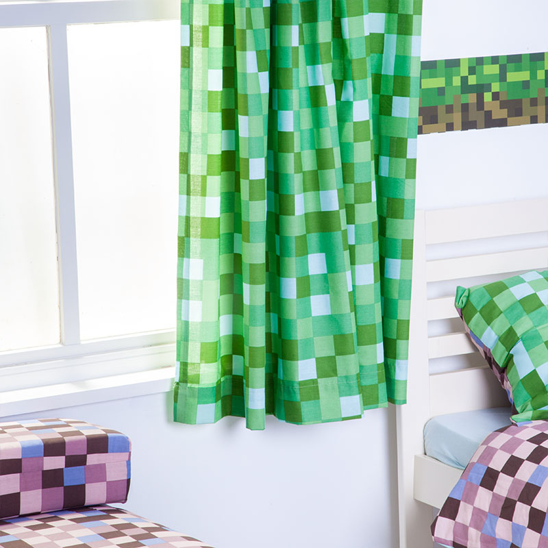 "Green Pixels Curtains 66"" X 72"" Childrens Bedroom Curtains"
