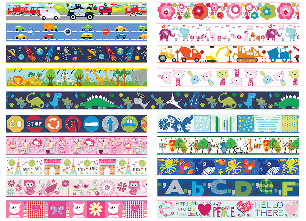 Wallpaper Borders Children s Kids Nursery Boys Girls Bedroom Wall Self  Adhesive. Wallpaper Borders Children  039 s Kids Nursery Boys Girls Bedroom