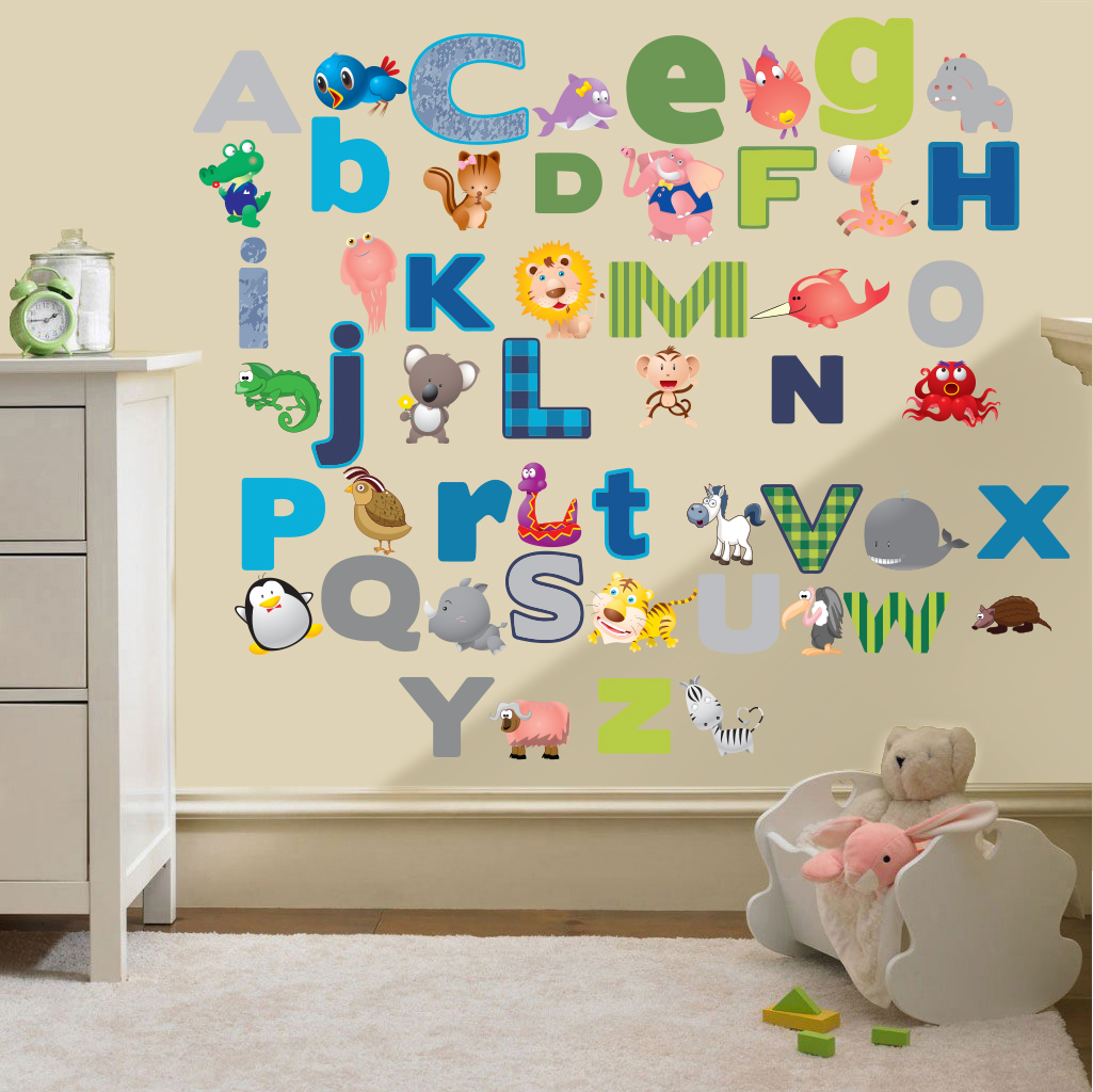 Childrens alphabet letters wall stickers decals nursery for Baby room decoration letters