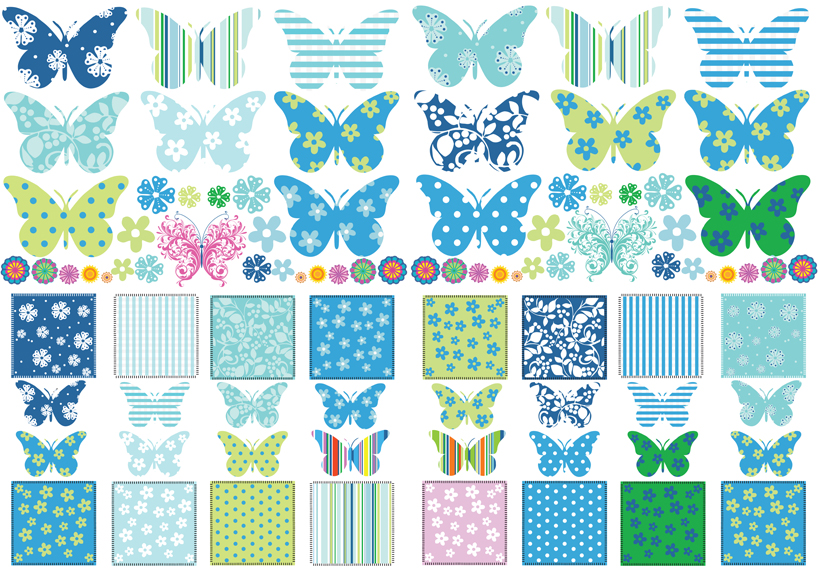 Childrens butterfly patchwork wall stickers decals nursery for Childrens butterfly bedroom ideas