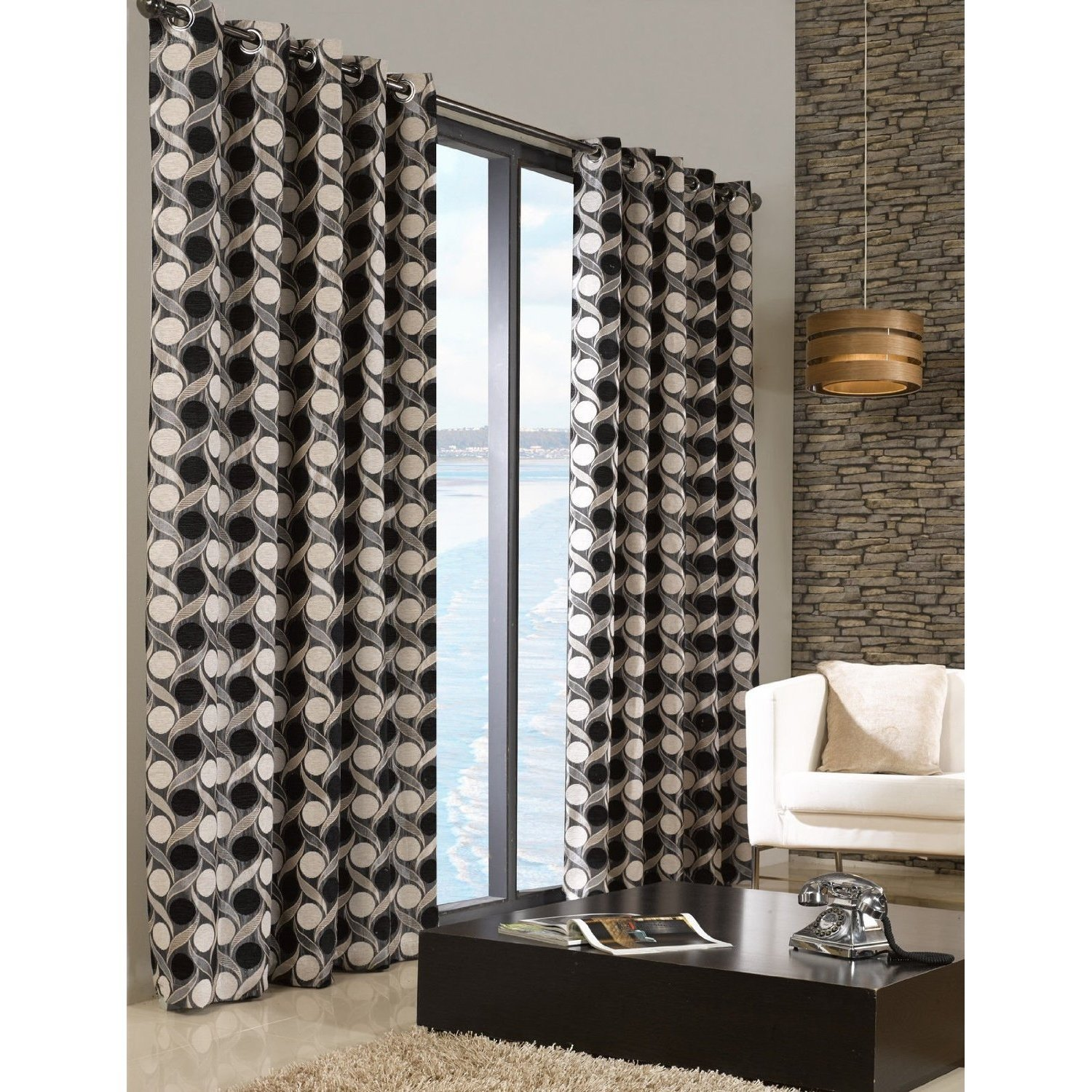 Chenille Patterned Fully Lined Eyelet Ring Top Curtains Ready Made Living Room Ebay