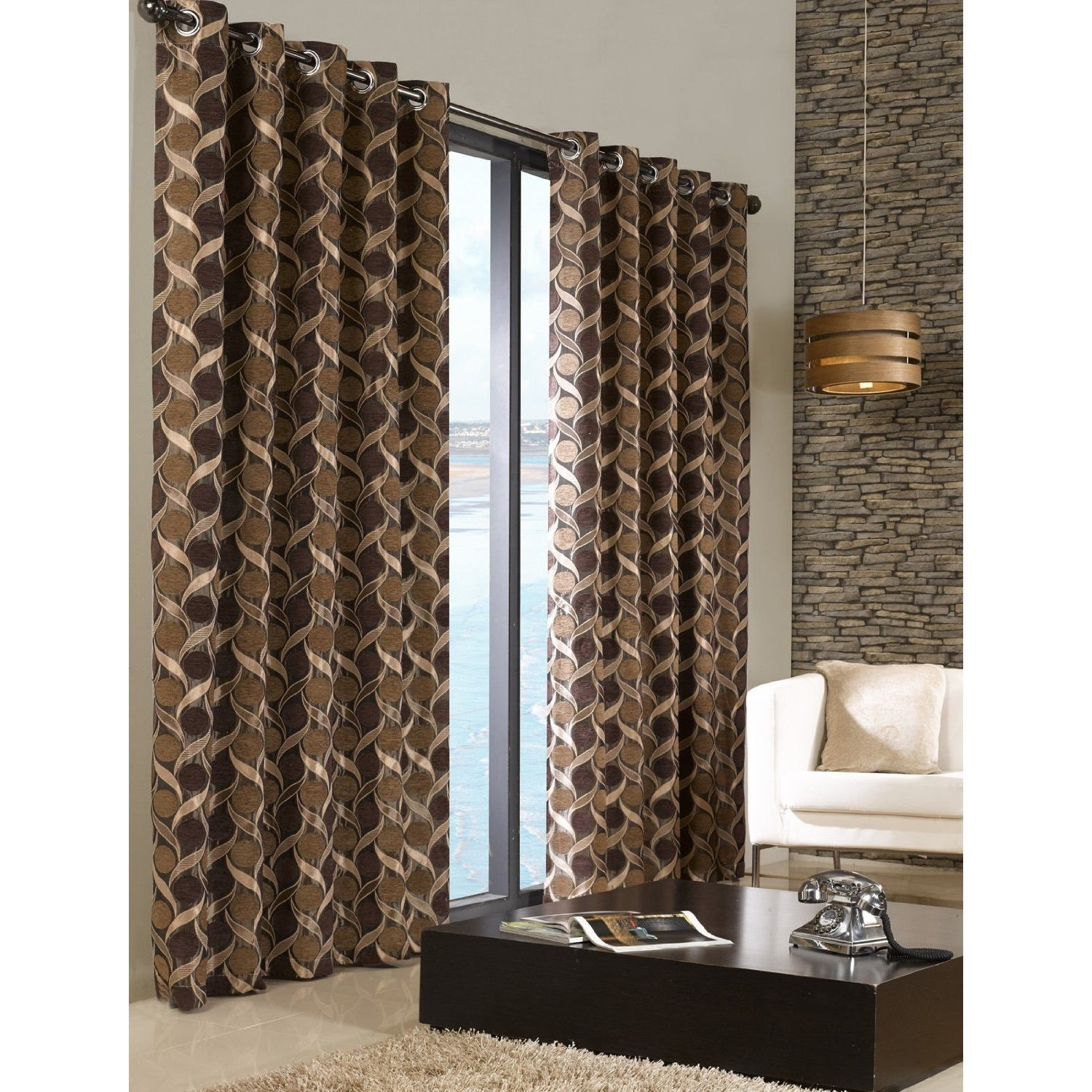 Chenille patterned fully lined eyelet ring top curtains ready made living room ebay for Lined valances for living room