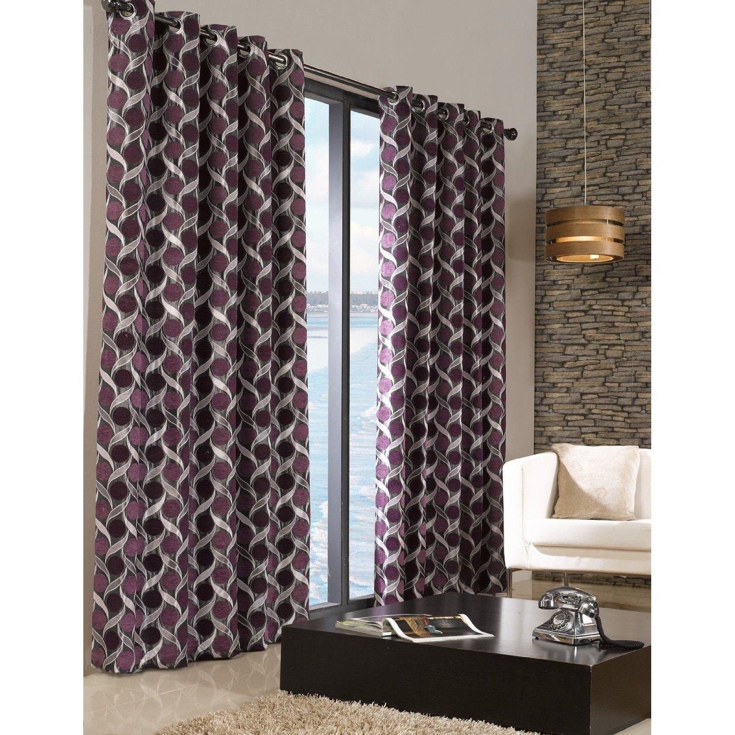 Chenille Patterned Fully Lined Eyelet Ring Top Curtains Ready Made Living Room