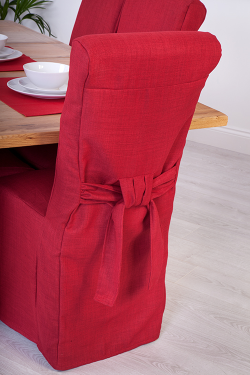 1 X Red Linen Fabric Dining Chair Covers For Scroll Top