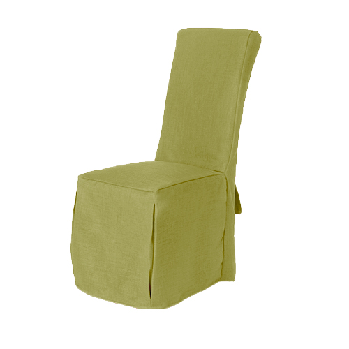1 X Lime Linen Fabric Dining Chair Covers For Scroll Top High Back Leather