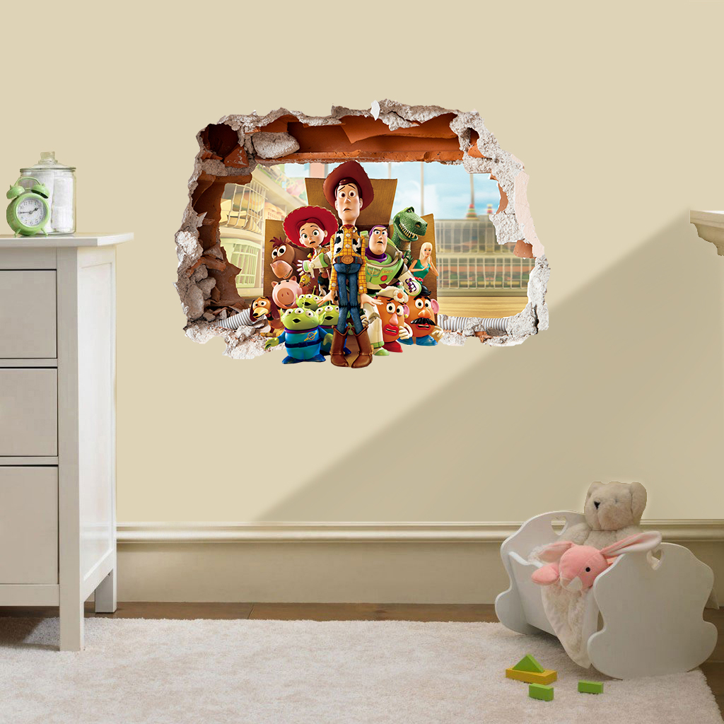 Toy Story Hole In The Wall Sticker 3d Bedroom Boys Girls