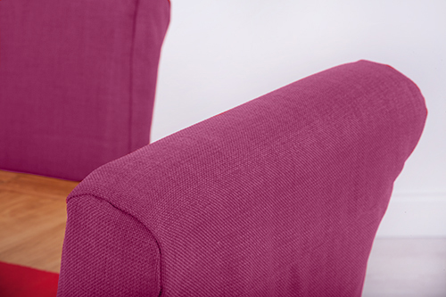 Set Of 4 Orchid Pink Fabric Dining Chair Covers For Scroll Top High Back Leat