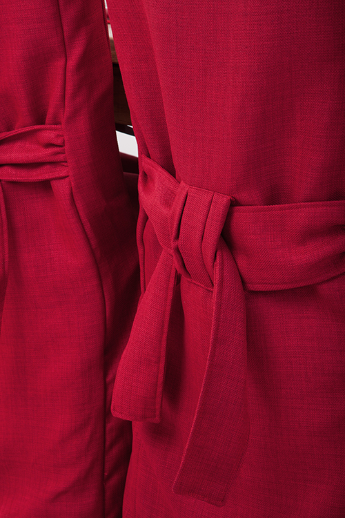 Set Of 4 Red Linen Fabric Dining Chair Covers For Scroll Top High Back Leathe