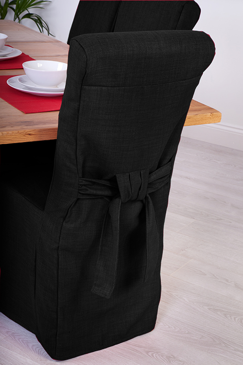 Set Of 8 Black Linen Fabric Dining Chair Covers For Scroll Top High Back Leat