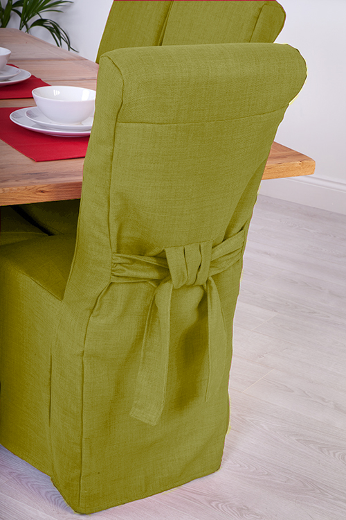 Set Of 8 Lime Linen Fabric Dining Chair Covers For Scroll