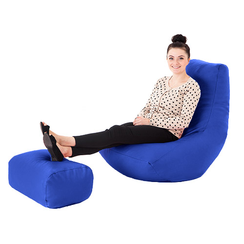 Faux Leather Filled Bean Bag Gamer With Footstool Lounger