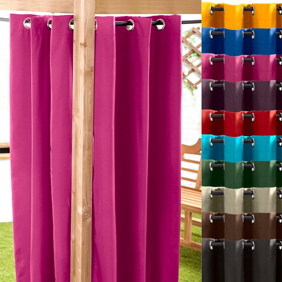 Black 140 X 180cm Outdoor Curtain Eyelet Panel Garden D Cor Drape Patio Shade