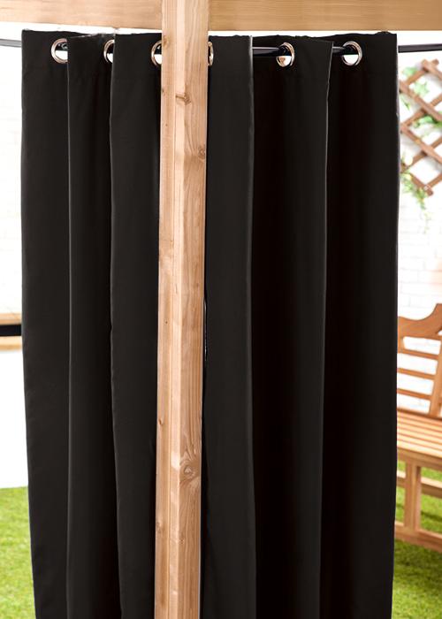 Black 140 X 240cm Outdoor Curtain Eyelet Panel Garden D Cor Drape Patio Shade