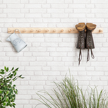 6 Pair Wooden Wall Mounted Welly Rack Hanging Wellington
