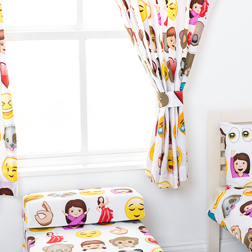 Emoji Emoticons Childrens Kids Curtains 66x72 Tiebacks
