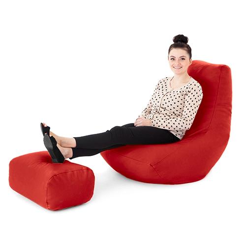 Faux cuir rempli pouf poire gamer jeu avec repose pieds for Chaise longue avec repose pied