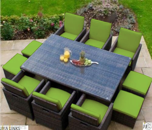 Lime 16 piece cushion set for 10 seater rattan garden for 10 seater garden table