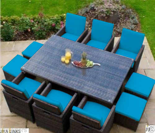 Replacement 16pc cushion set for 10 seater rattan garden - Replacement cushions for wicker patio furniture ...
