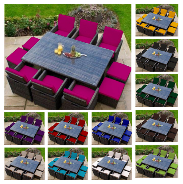 Replacement 16pc Cushion Set For 10 Seater Rattan Garden