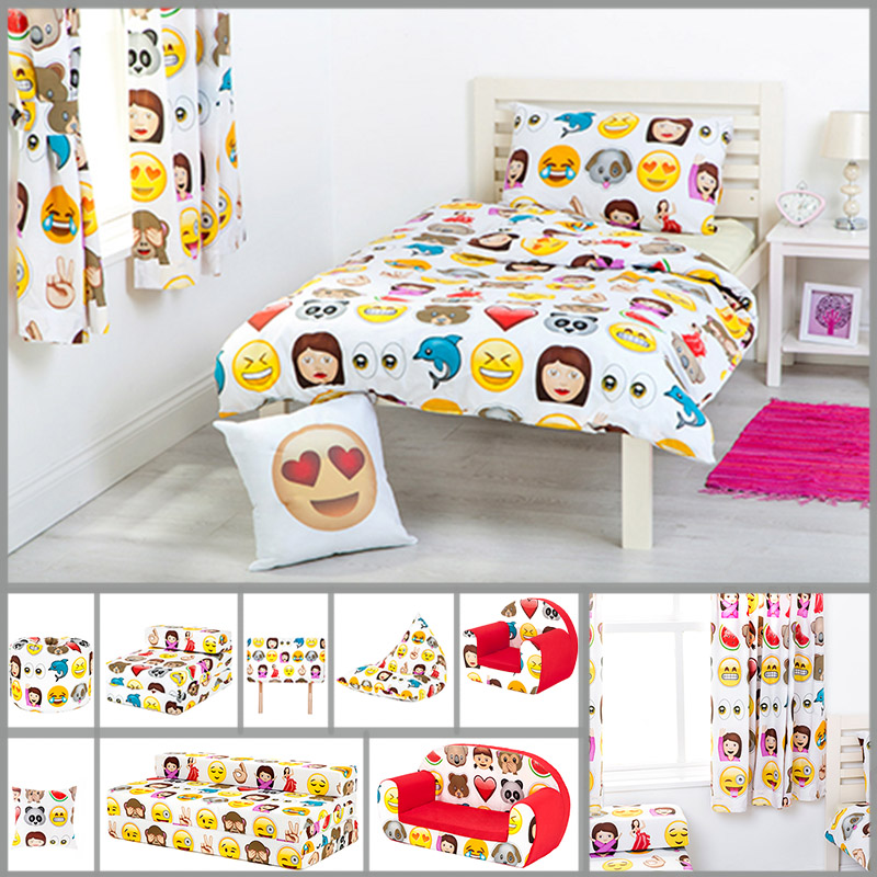 children 39 s emoji design bedding bedroom collection emoticons kids smiley faces ebay