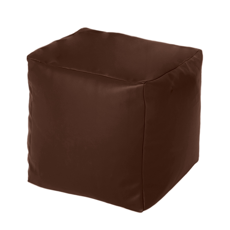 Brown Faux Leather Cube Bean Bag Pouffe Foot Stool Beanbag