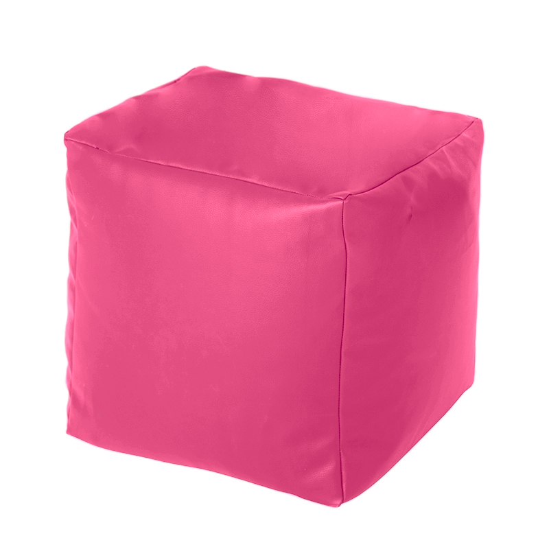 Pink Faux Leather Cube Bean Bag Pouffe Foot Stool Beanbag