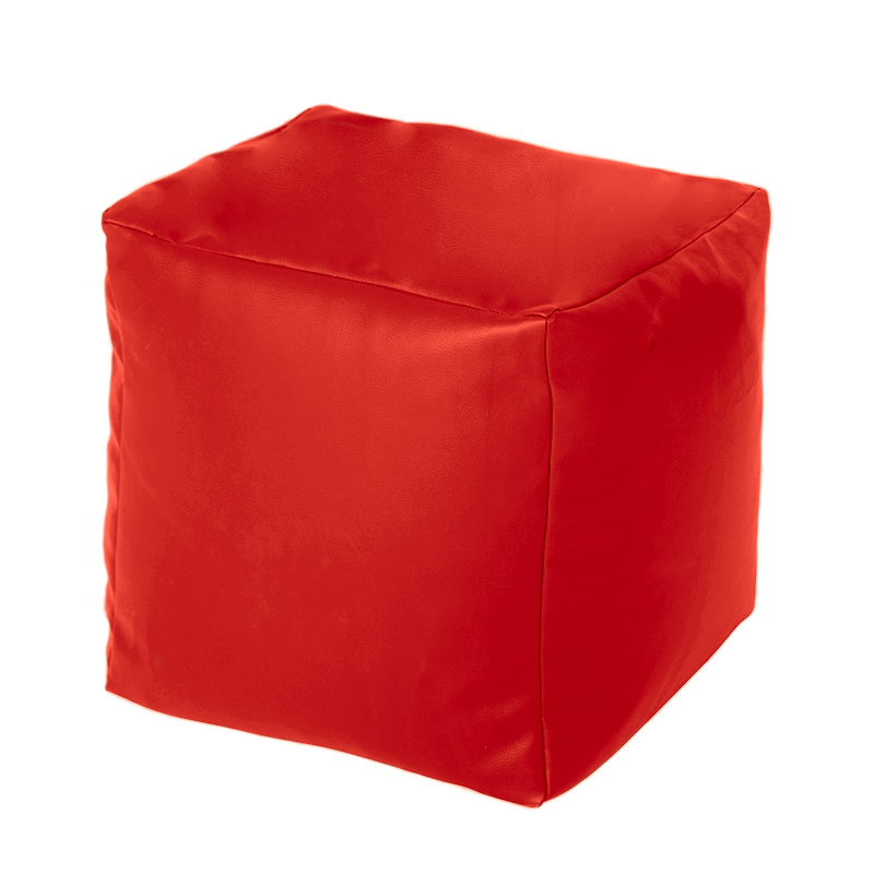 Red Faux Leather Cube Bean Bag Pouffe Foot Stool Beanbag