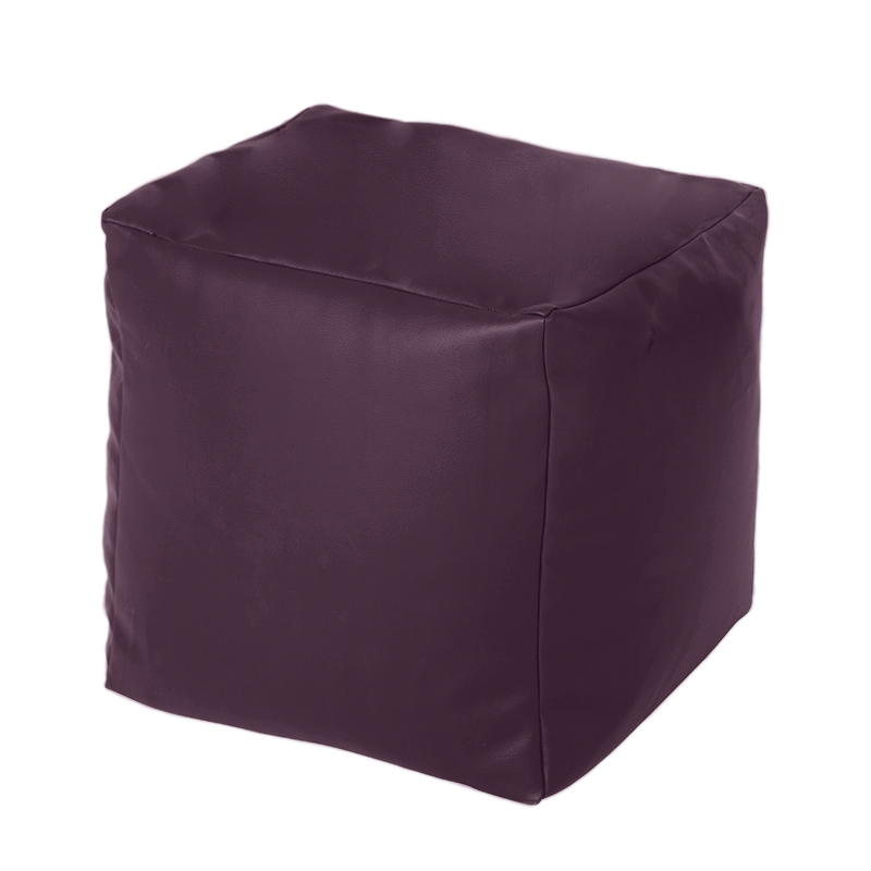 purple faux leather cube bean bag pouffe foot stool