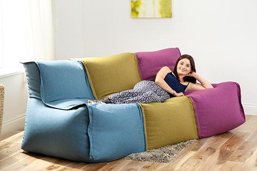 Grey Wool Feel Modular Sectional Bean Bag Sofa Zip