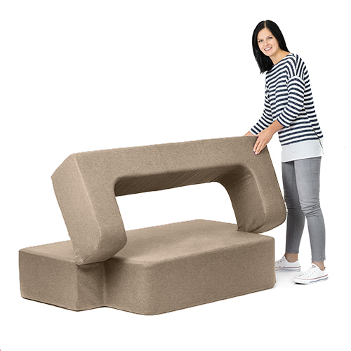 Sofa King Easy: Latte Wool Feel Poppy Easy Fold Out Flip Sofa Bed Foam