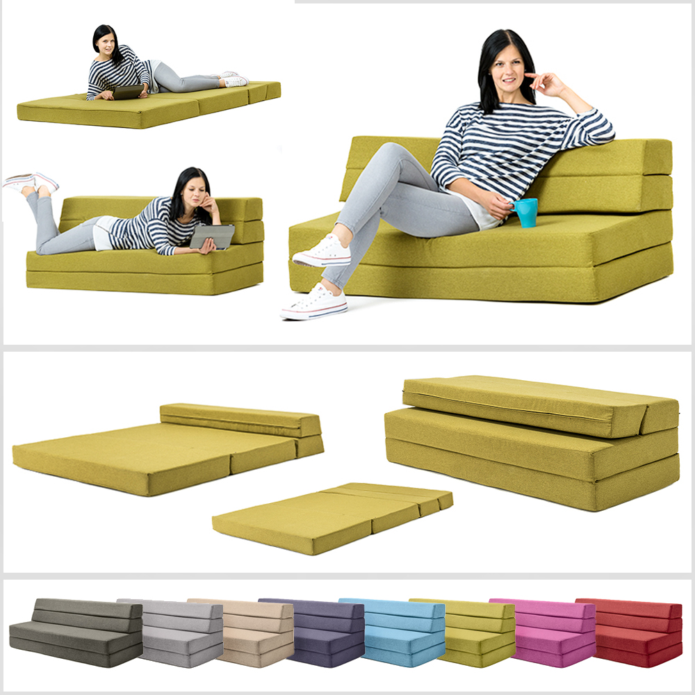 Amellia Fold Out Foam Guest Z Bed 2 Seater Folding Futon Double Sofa Mattress Ebay