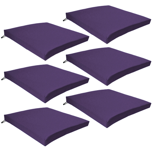 Purple 6 pack seat chair cushion outdoor garden tie on for Chair cushion covers with ties
