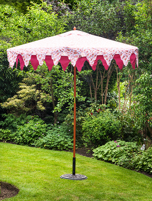 Boho Orange 2.4M Designer Hardwood Garden Umbrella Parasol