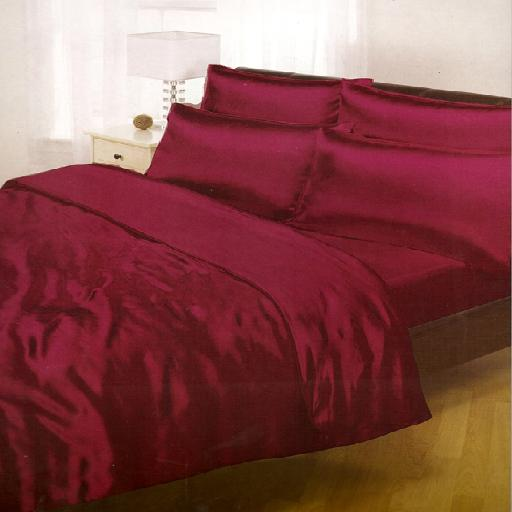 Burgundy Satin Complete Double Bed Duvet Quilt Cover Set