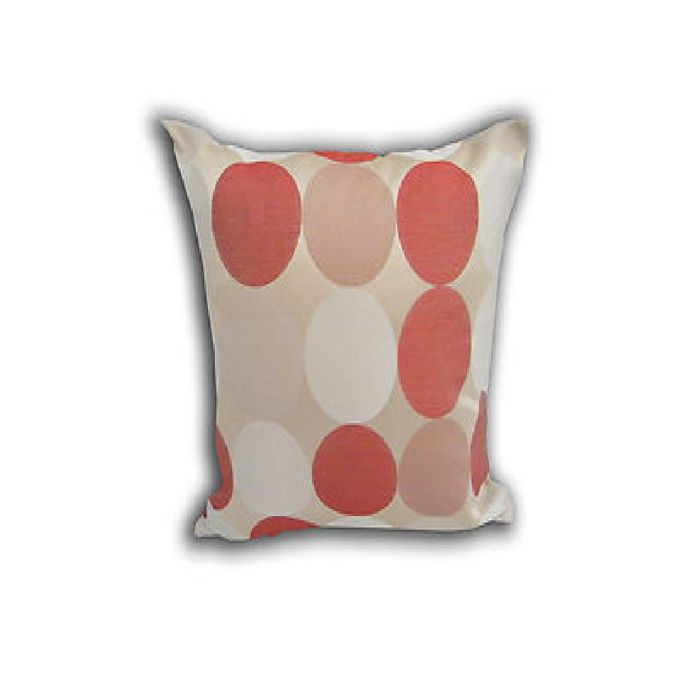 4Pk Terracotta/Cream Polkadot Circles Pattern Spots Scatter Sofa Cushion Covers