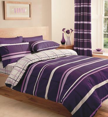 El Paso Purple King Quilt Bed Linen Bedding Duvet Cover Set & Two Pillowcases
