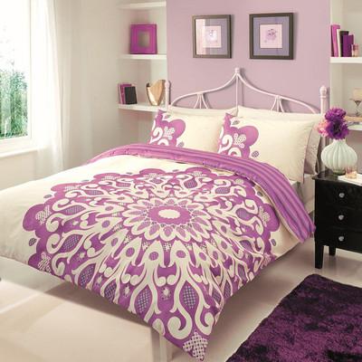 Double size diva cream aubergine quilt bed linen bedding duvet cover pillowcases ebay - Bedlinnen aubergine ...