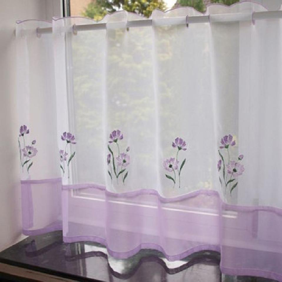 Ready Made Cafe Curtain One Panel Kitchen Voile Net Bedding Bathroom Lilac New