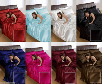 6PC LUXURIOUS SATIN BEDDING DUVET COVER+FITTED SHEET