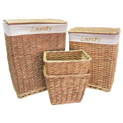 Wicker willow laundry bathroom storage basket sets with for Waste baskets for bathroom