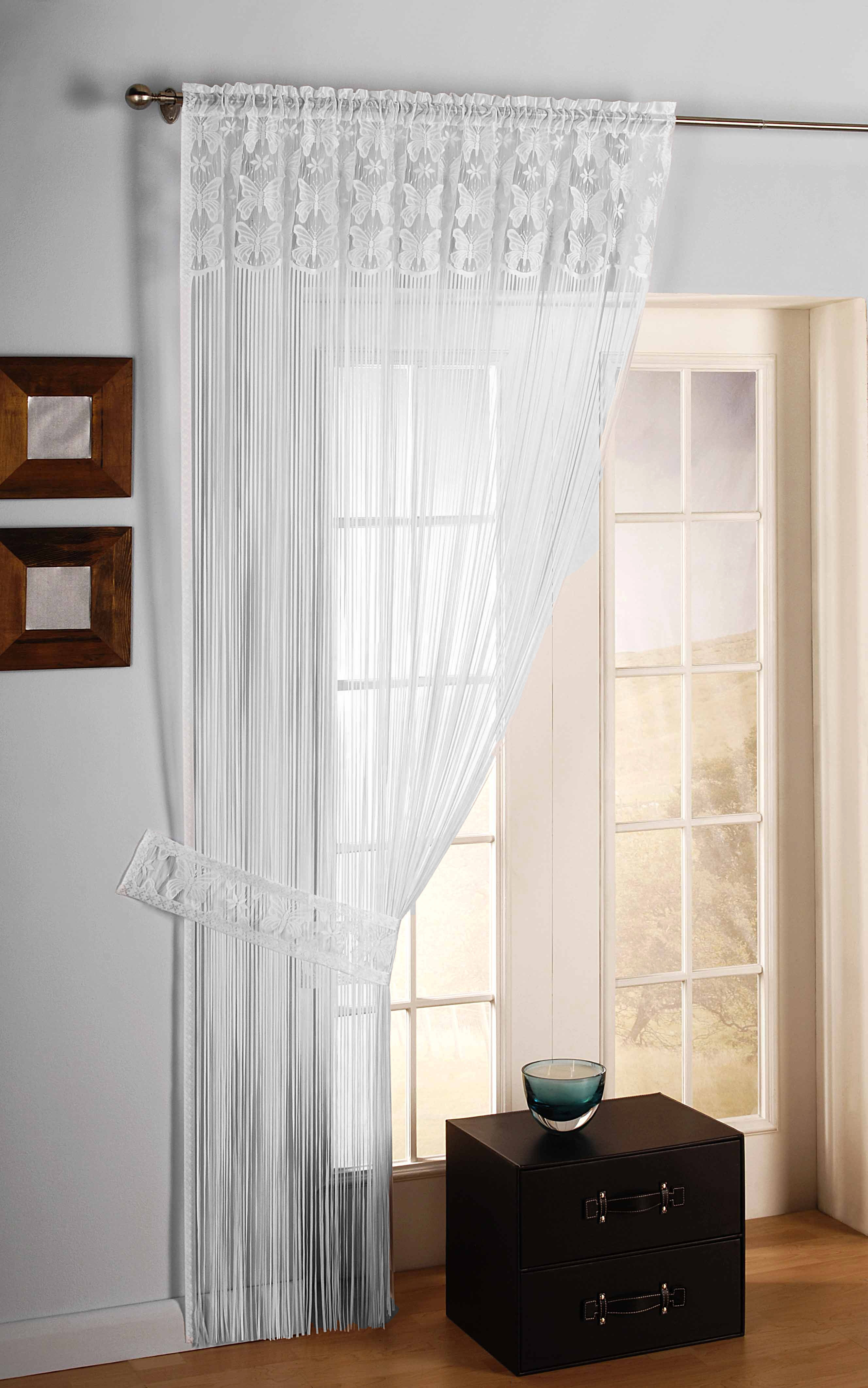 String Curtain Fringe Panel Decoration Room Divider 20: Wide String Curtain Door Window Divider Lace + Tie Back