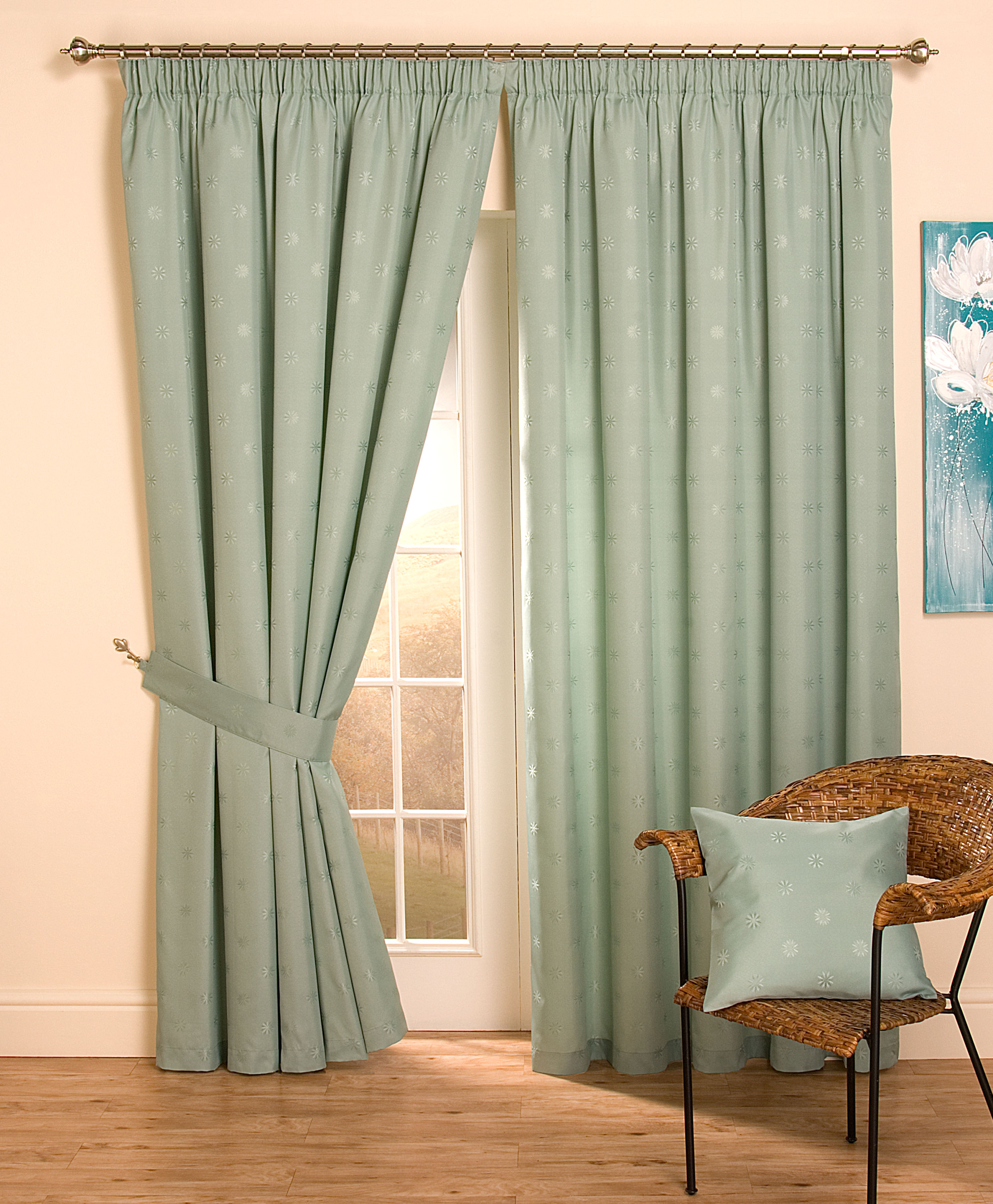 Cheap Full Lined Tape Top Pencil Pleat Jacquard Curtains Thermal Door Curtains Ebay